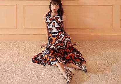 Navy orange dress